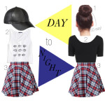 Day to Night Look: Leather & Plaid