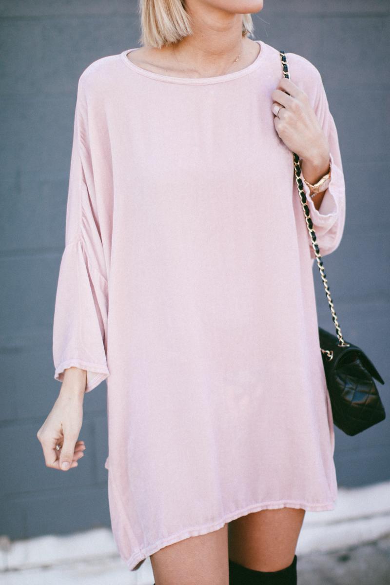 pink velvet tunic dress