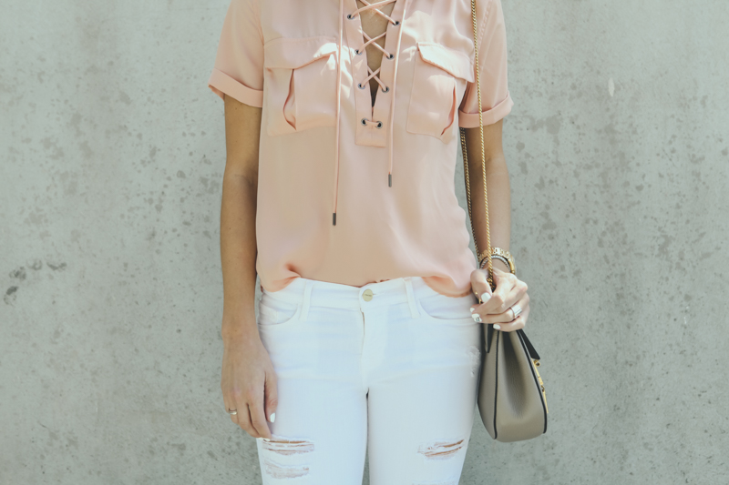 silk lace up top details