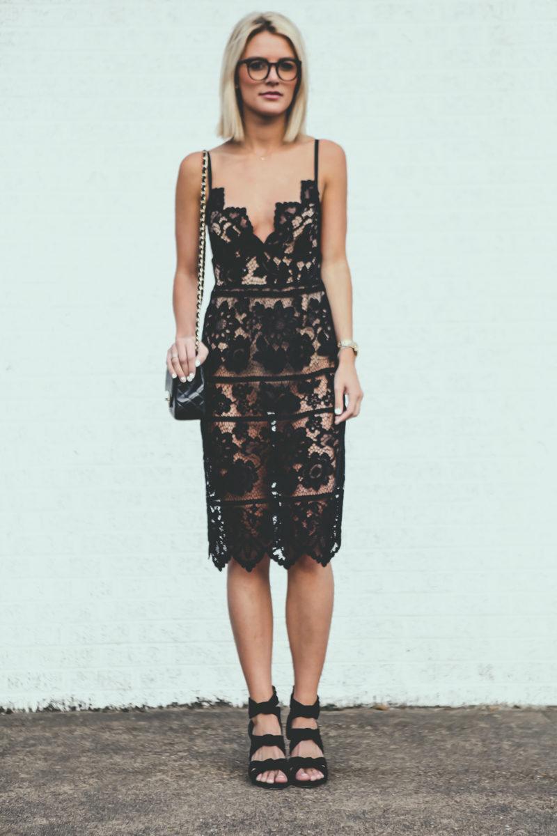 black lace For Love & Lemons dress