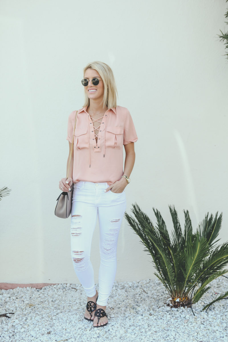 cute-pink-lace-up-silk-top