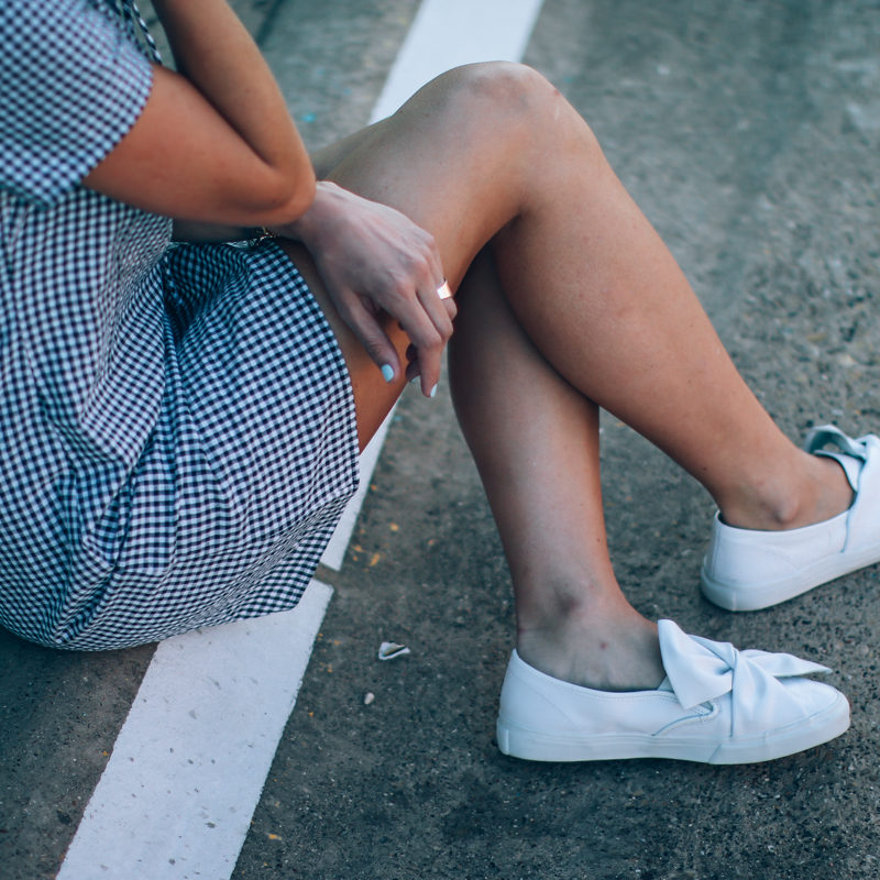 gingham-dress-and-sneakers
