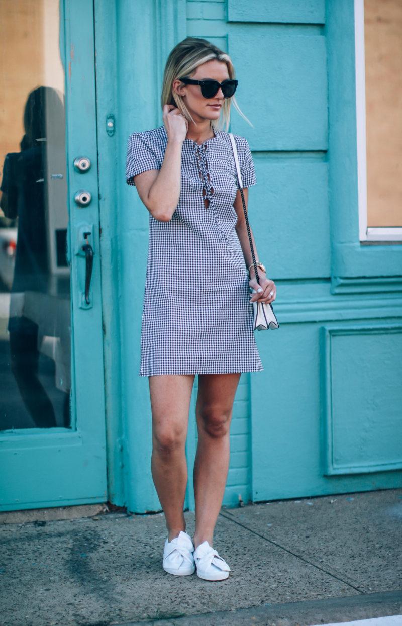 gingham-print-dress