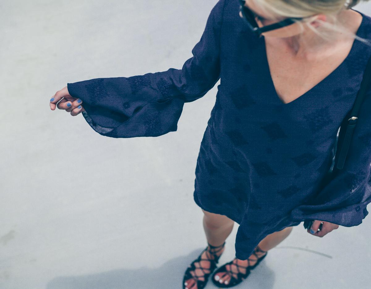 navy WAYF bell sleeve dress