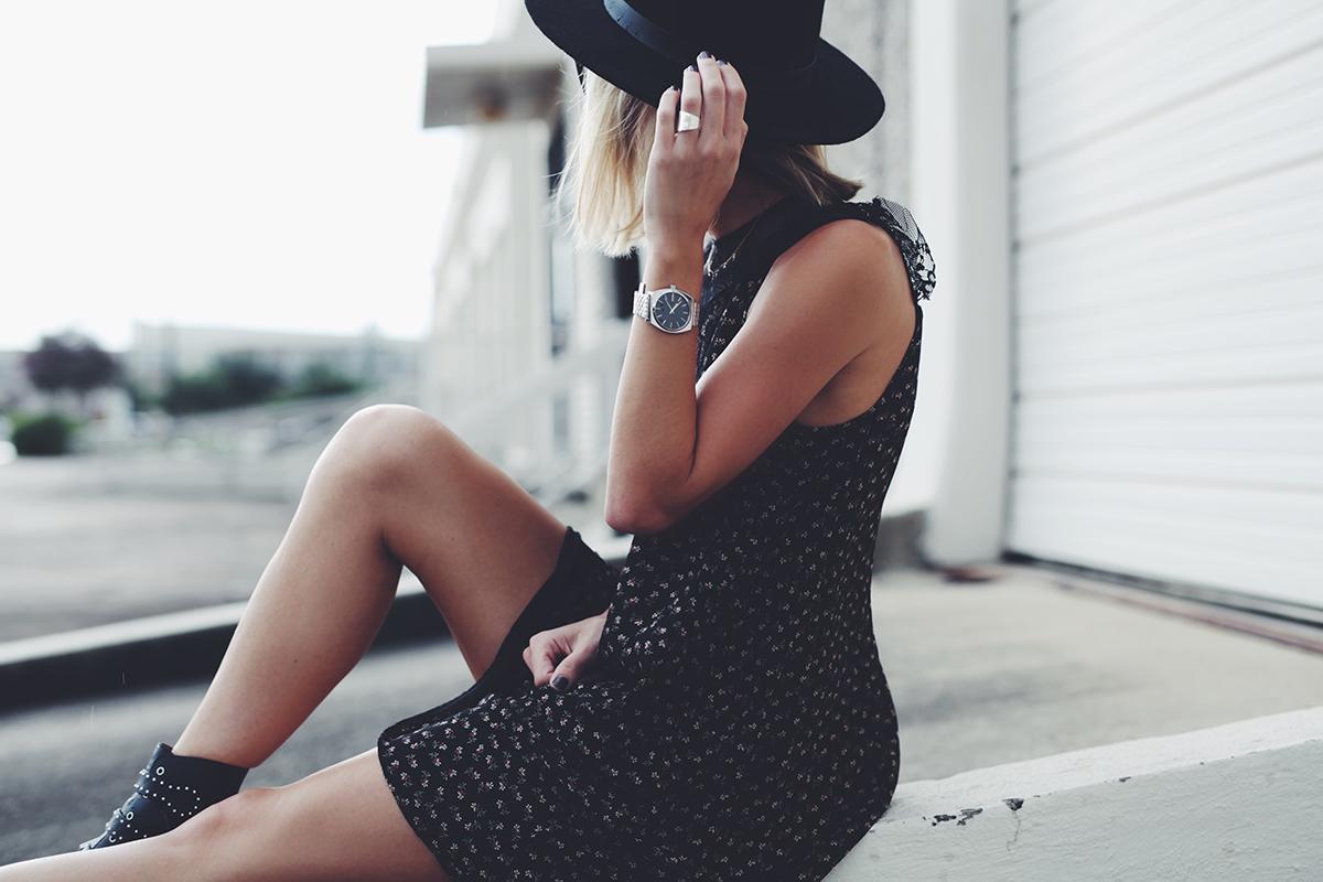 little black dress and black fedora