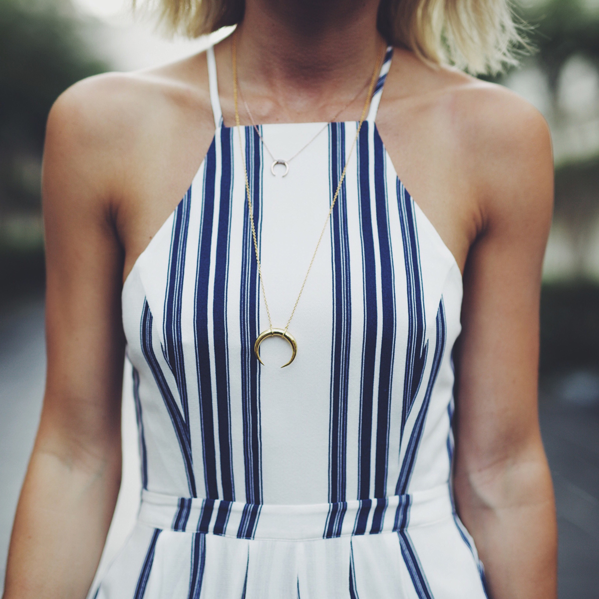 gold gorjana crescent pendant necklace