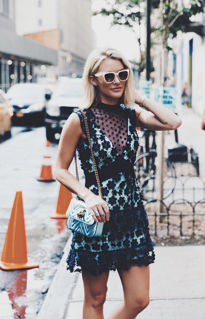 self portrait dress with floral appliques