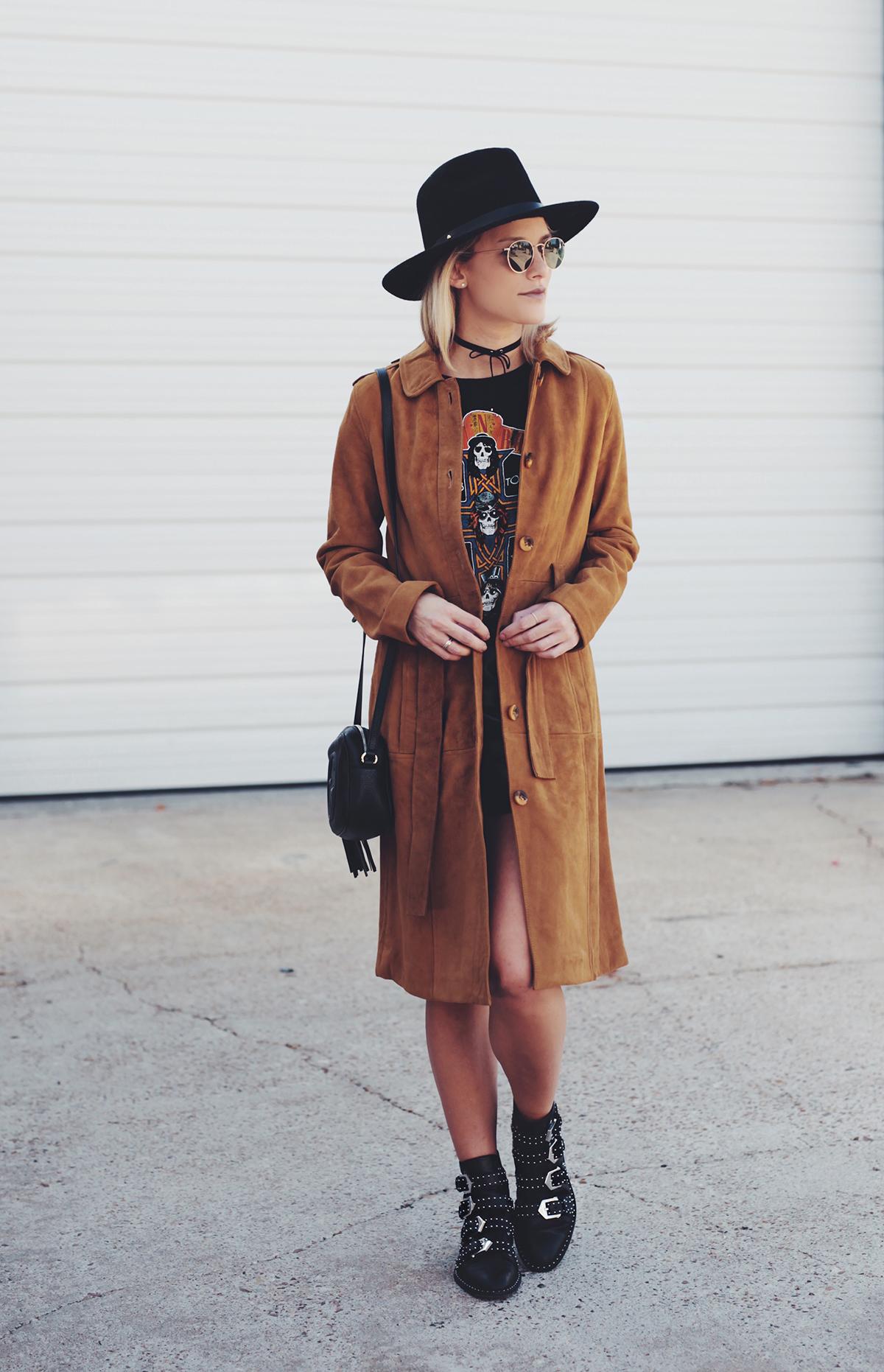 camel belted suede coat