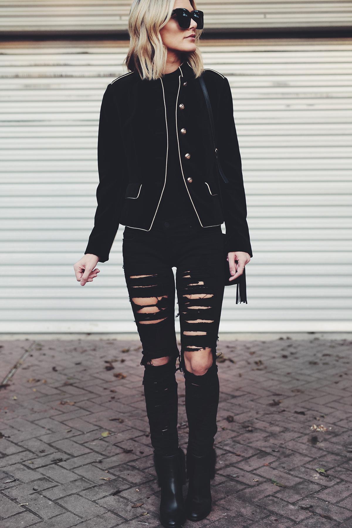 velvet-blazer-ripped-jeans