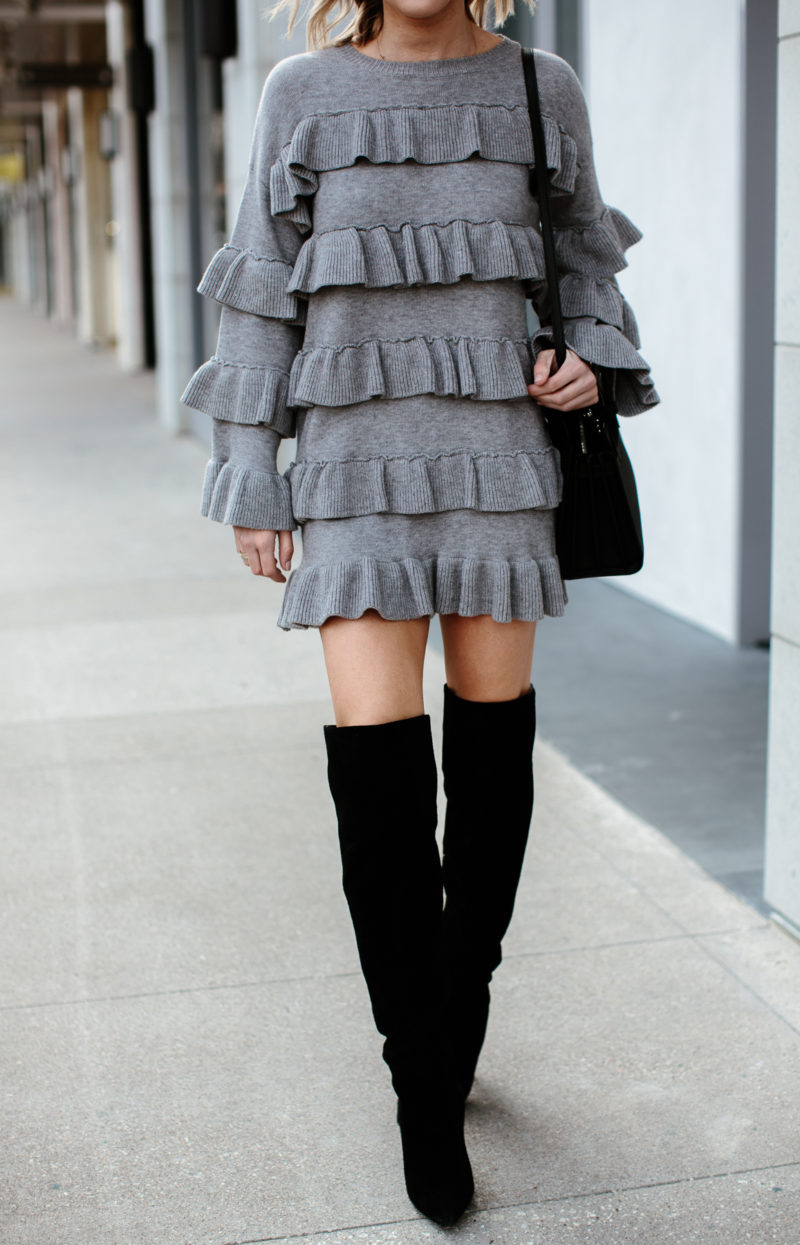 tiered sweater dress grey