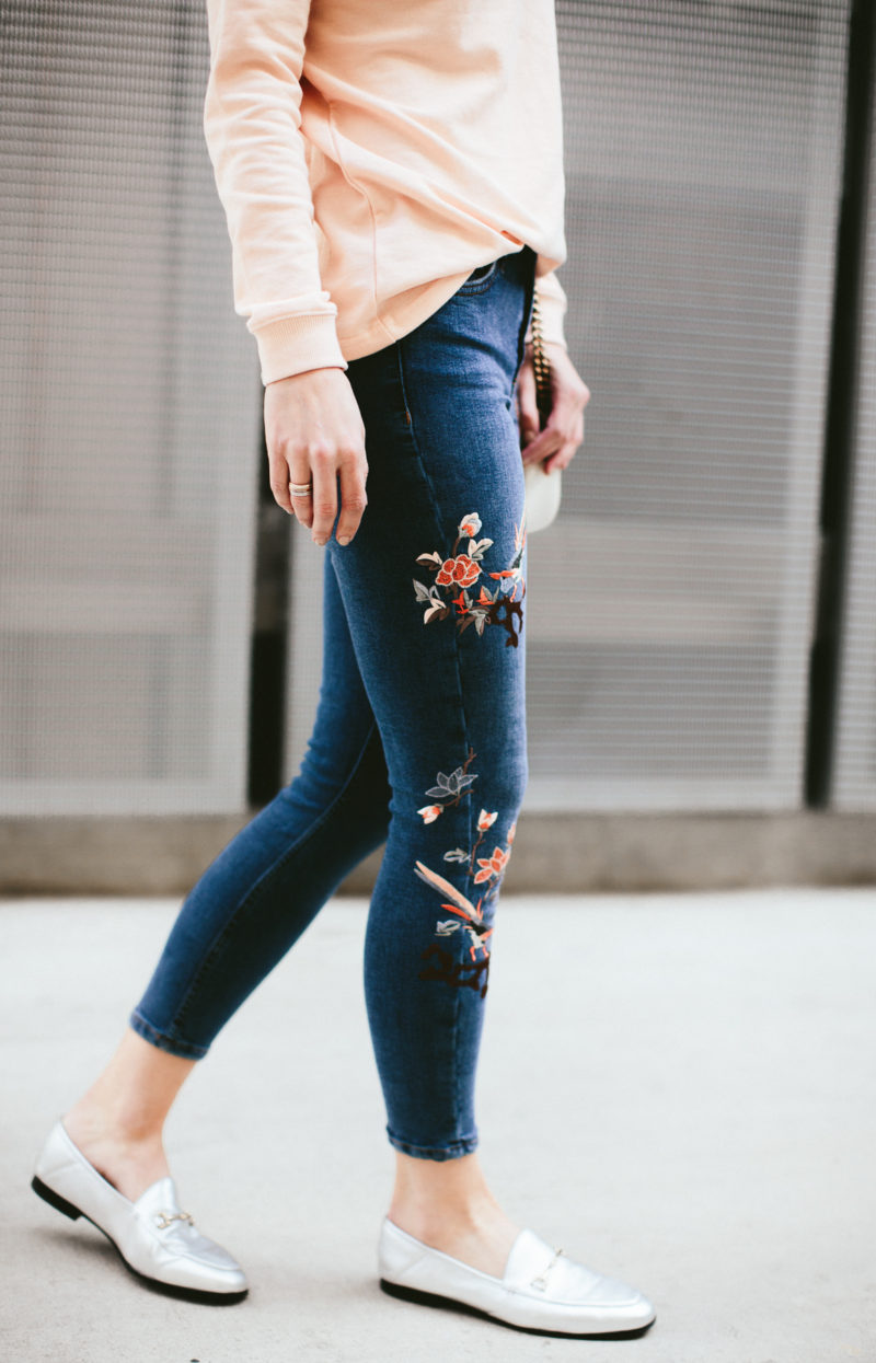 cute topshop embroidered jeans