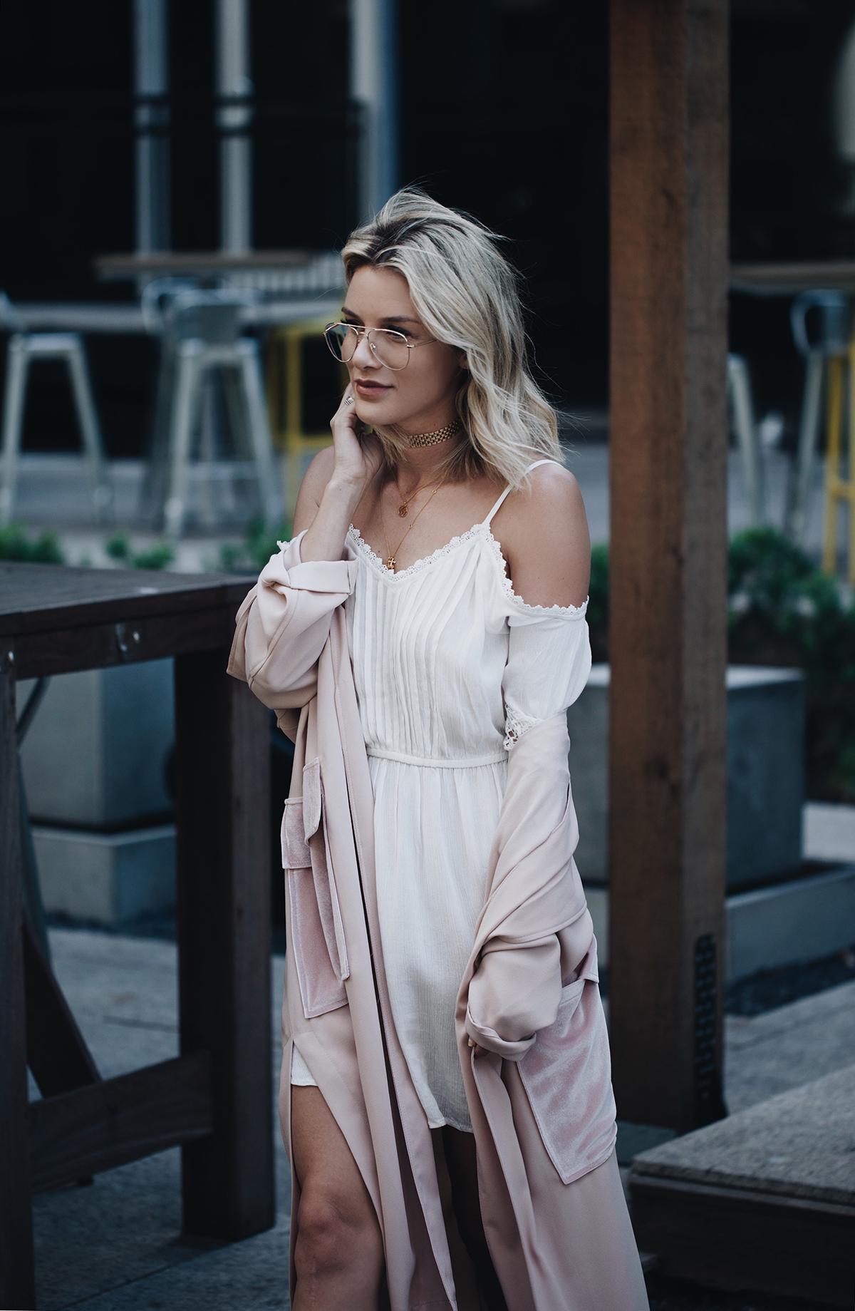 cold shoulder dress daytime date outfit