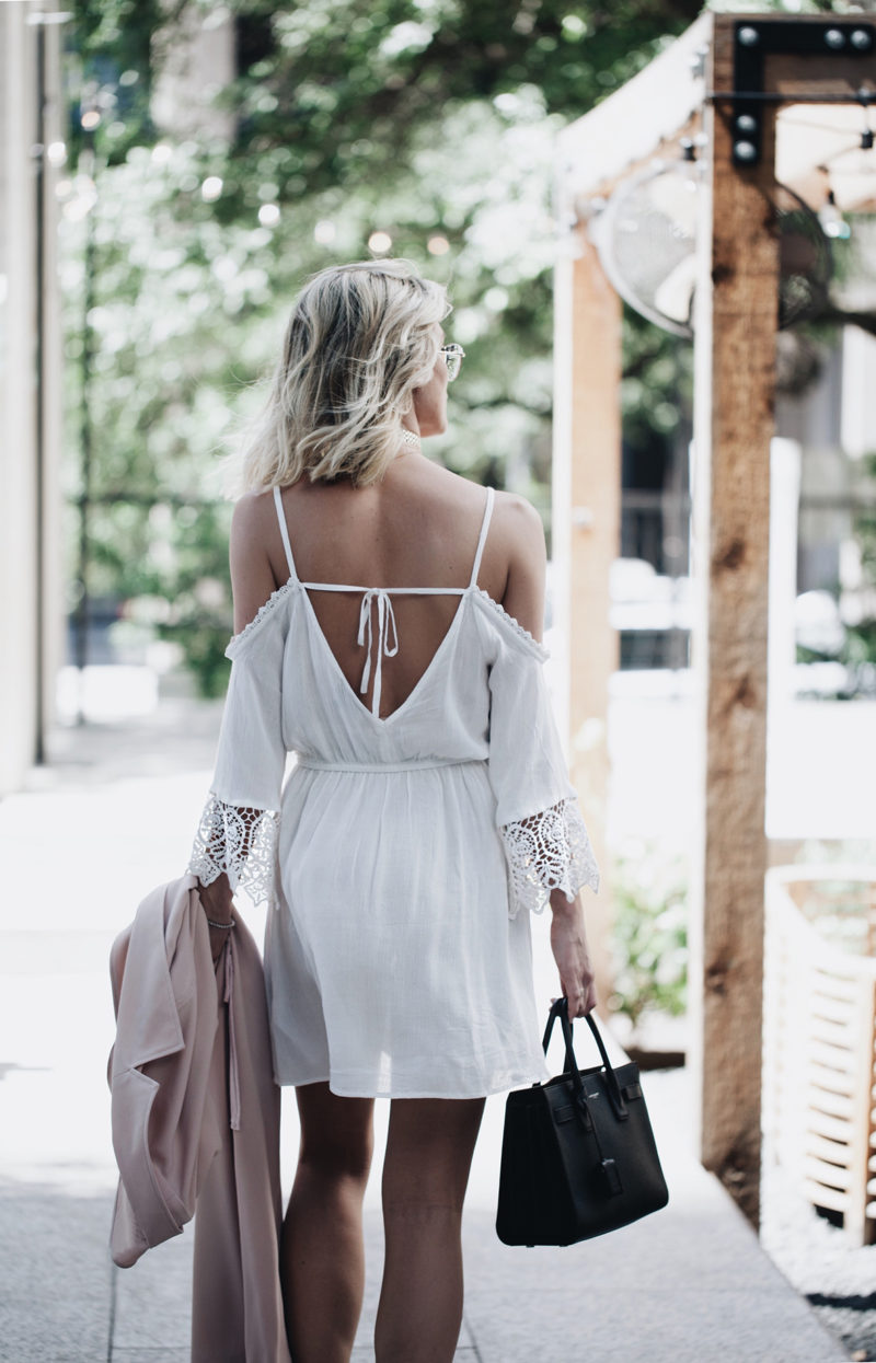 lace trim cold shoulder dress day date outfit
