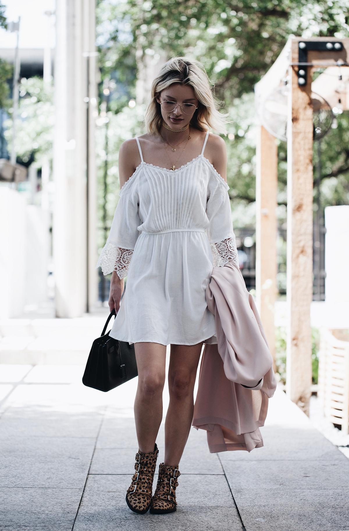 lace trim cold shoulder dress