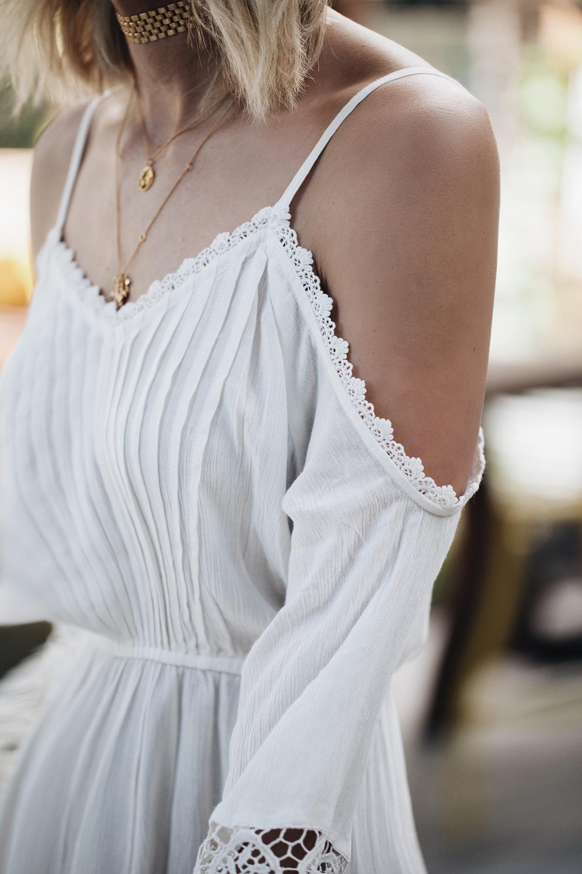 pretty lace trim cold shoulder dress topshop