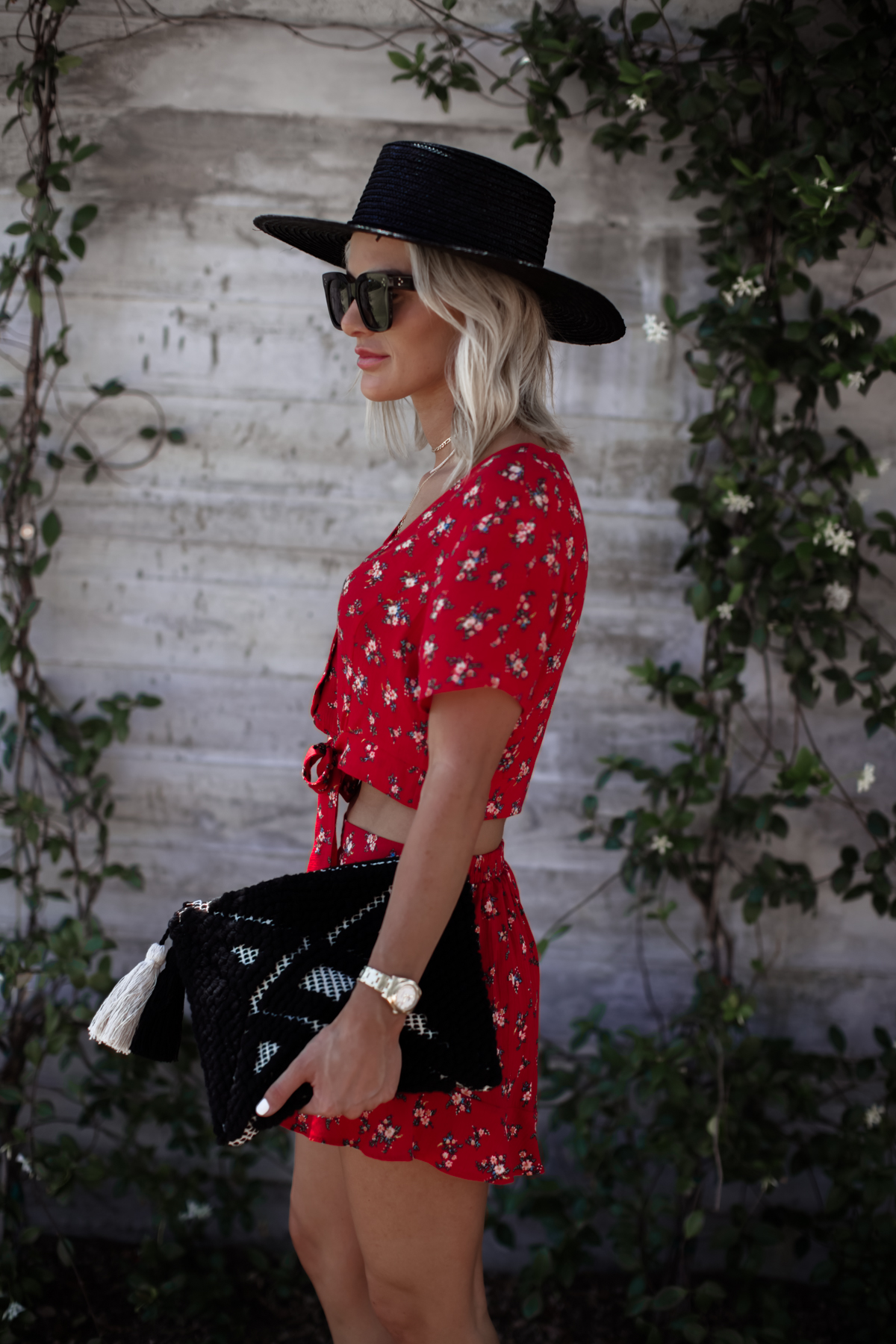 red matching set floral AEO