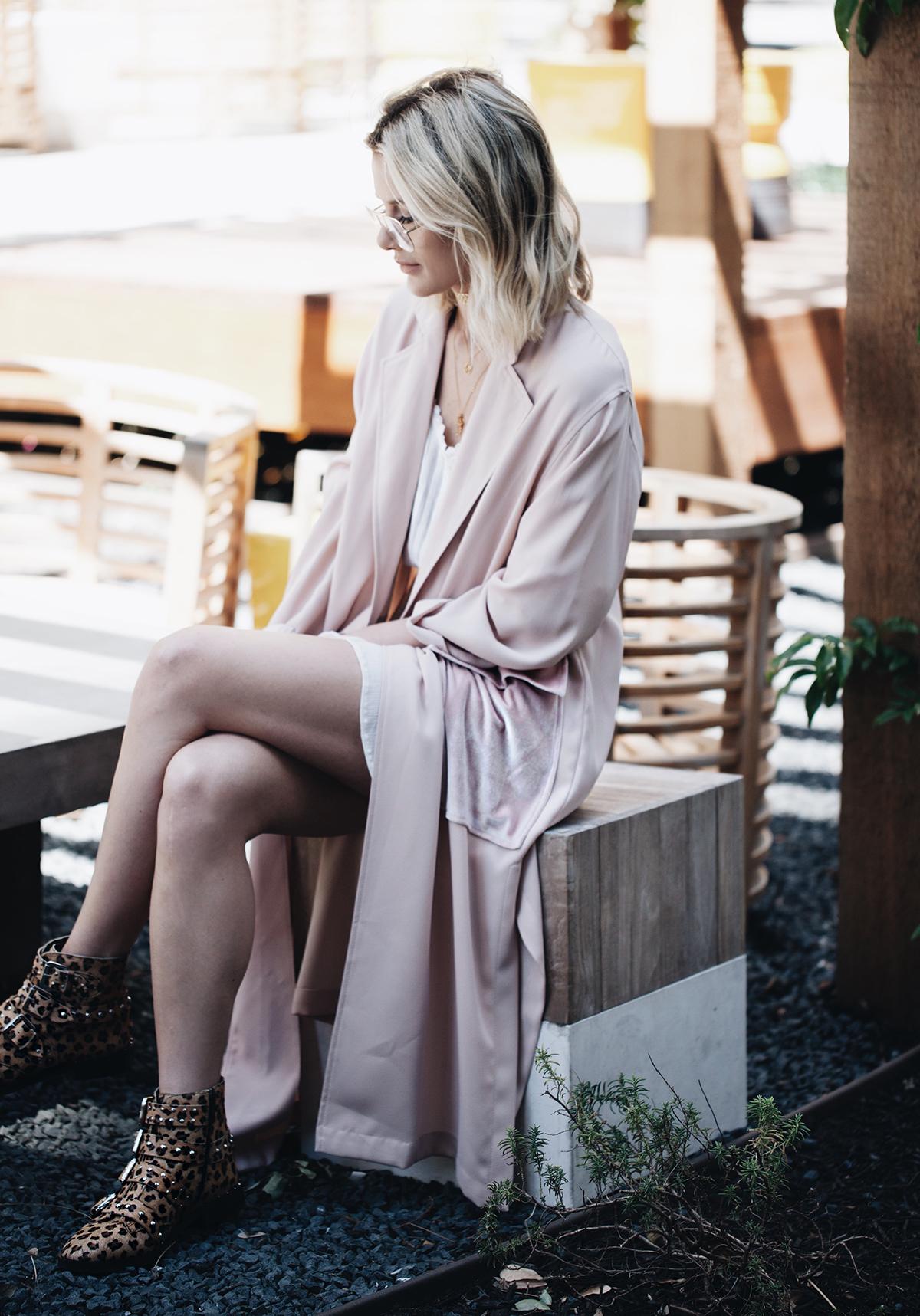 velvet pocket duster coat