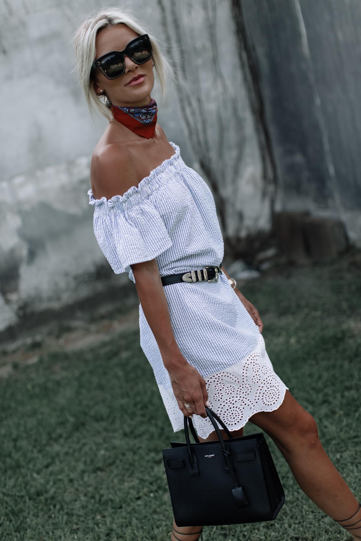 belted off the shoulder dress on blogger So Sage