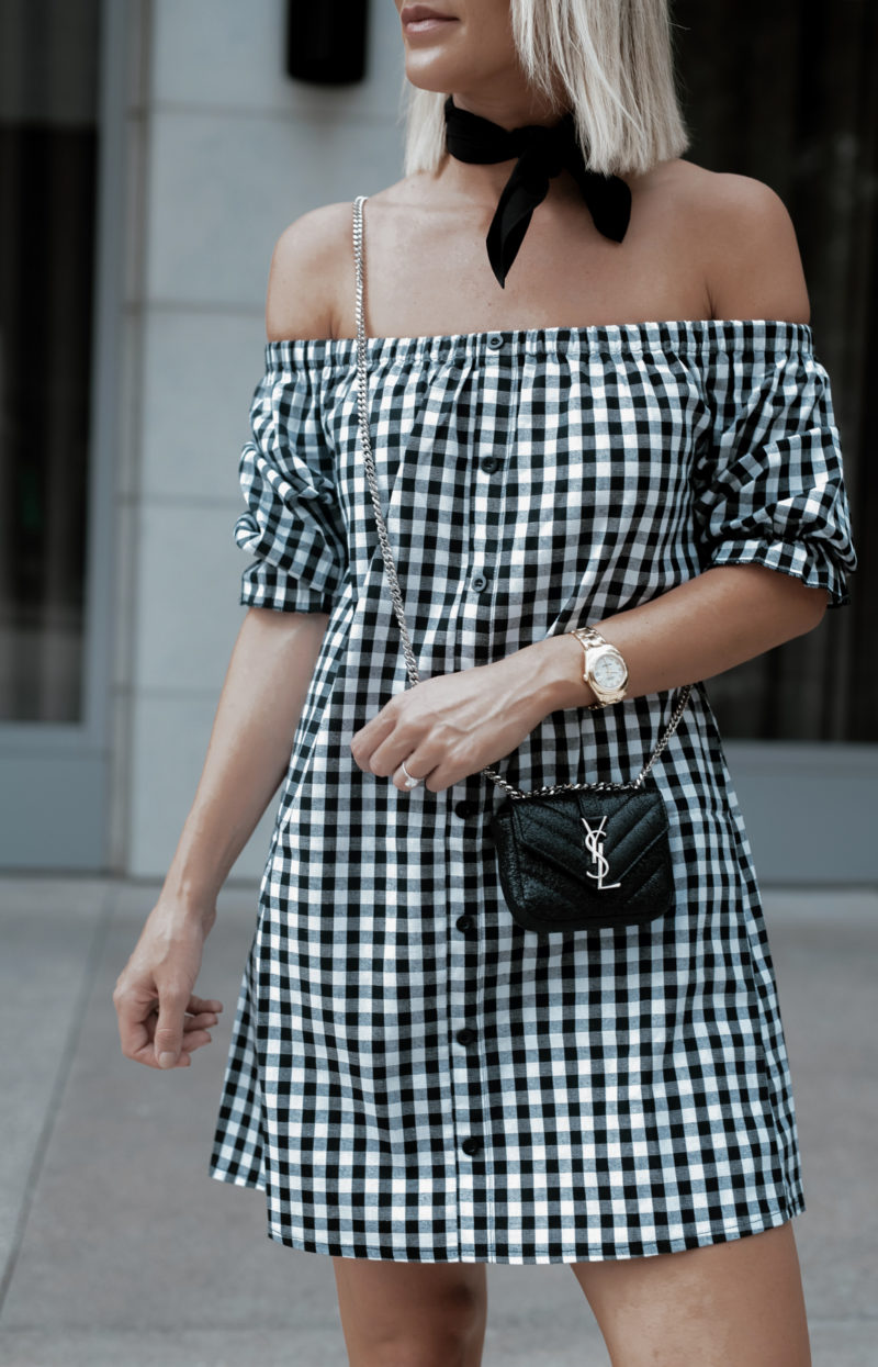 gingham OTS dress on Sage Coralli of So Sage Blog