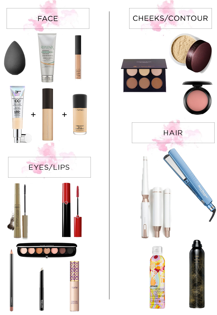 Hair and makeup products used in Instagram Live @sosageblog