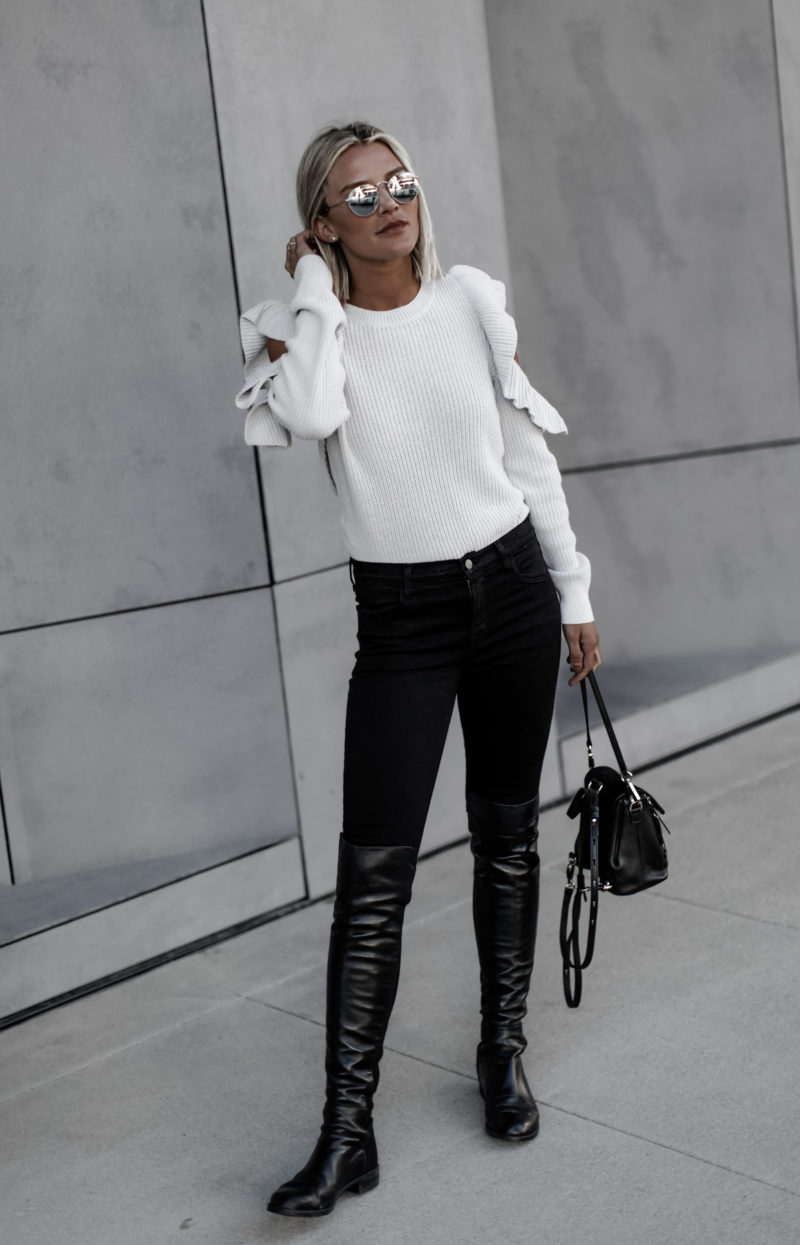 Grey cold shoulder sweater on blogger So Sage