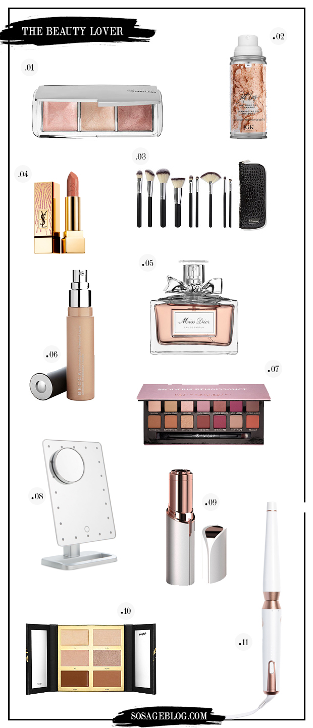 holiday gift guide for the beauty lover on So Sage Blog