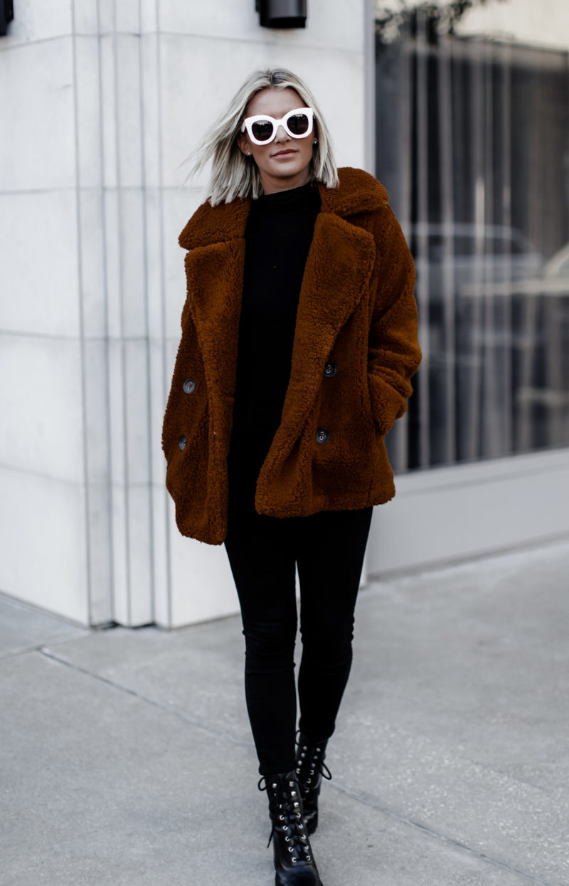 cute oversized cozy coat on Sage Coralli of the blog So Sage