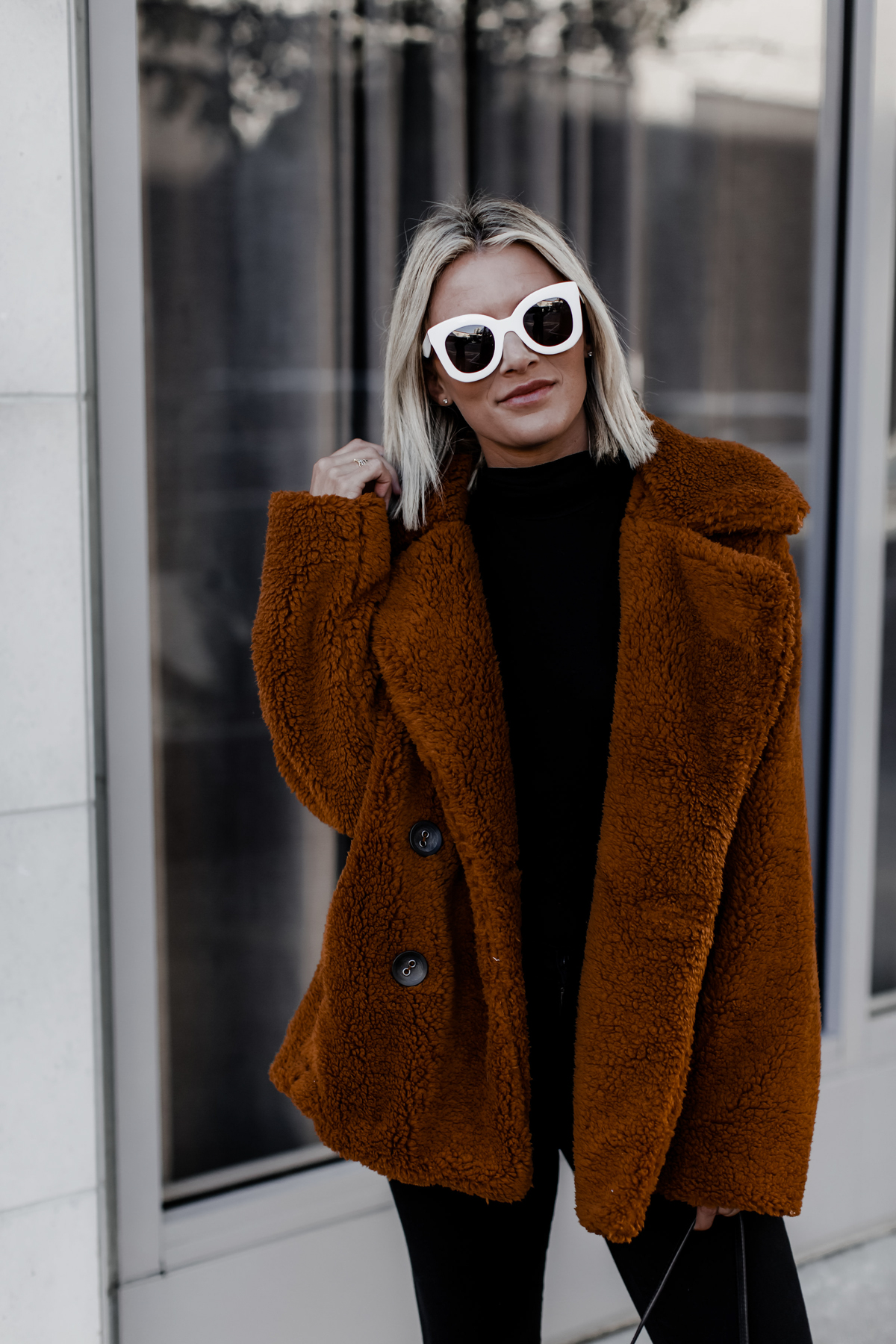 oversized teddy pea coat on blogger So Sage