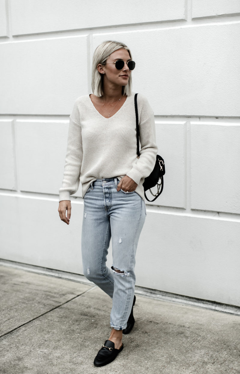 vneck sweater and jeans on So Sage