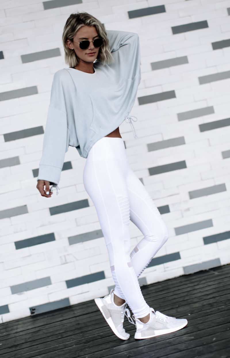 White high waist moto leggings by Alo on blogger So Sage