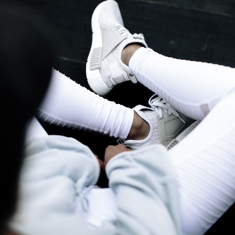 white workout leggings and sneakers on So Sage