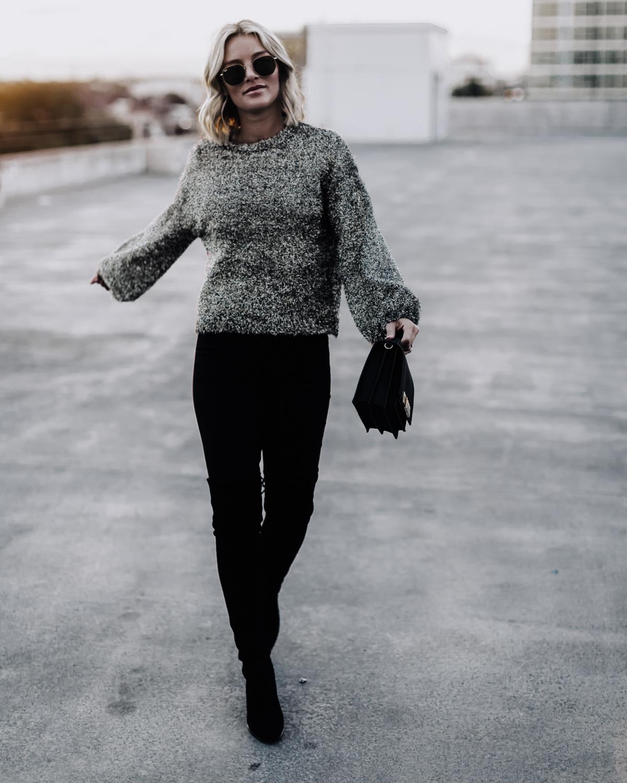 black fluffy sparkle sweater on blogger So Sage