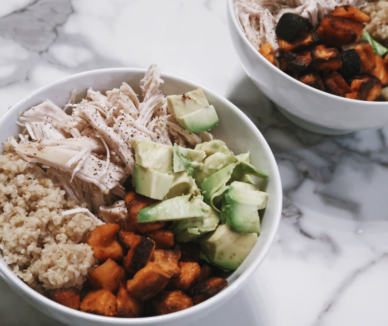 Chicken quinoa bowl recipe with avocado, sweet potatoes, and salsa