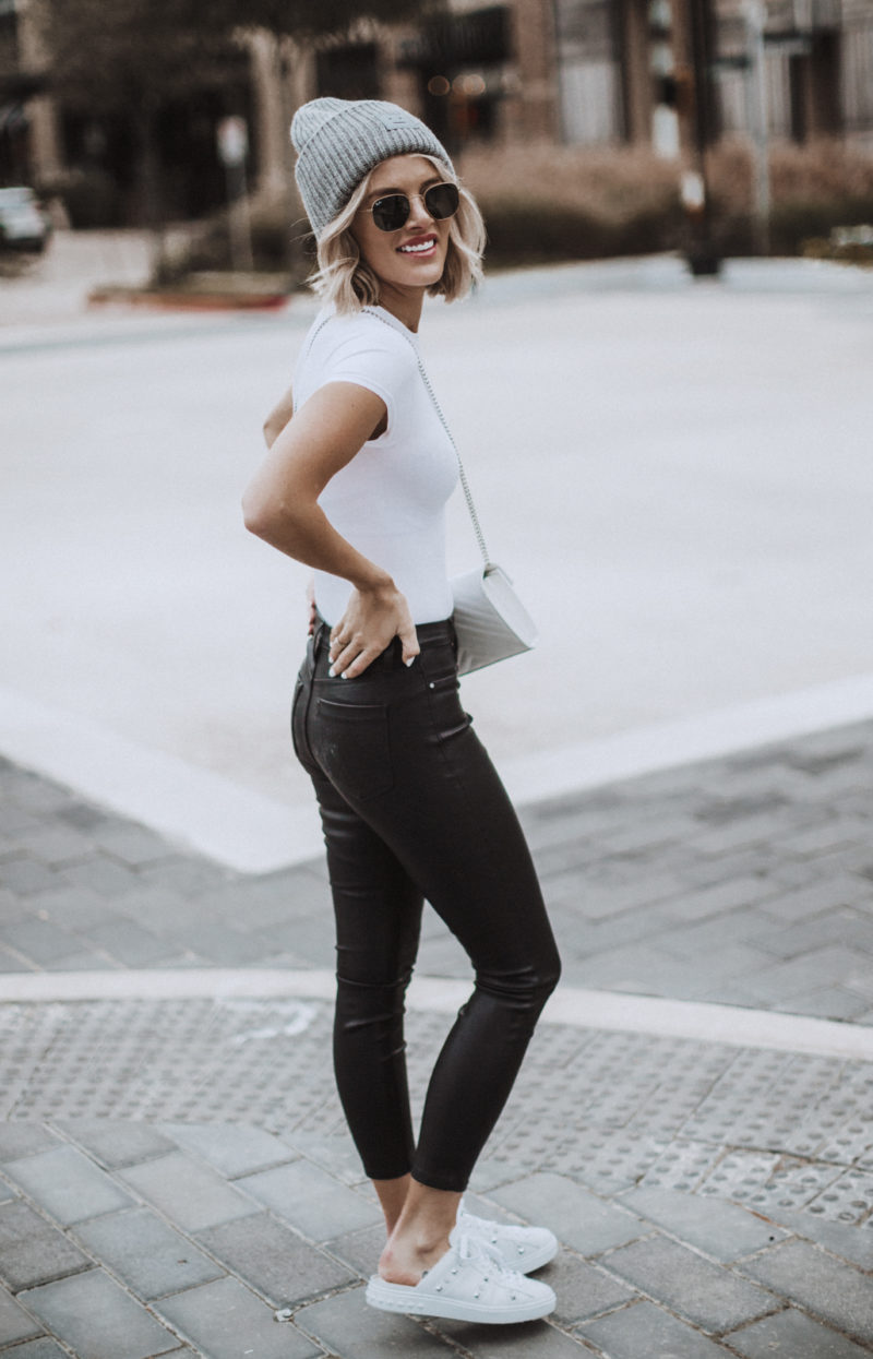 faux leather pants on blogger So Sage