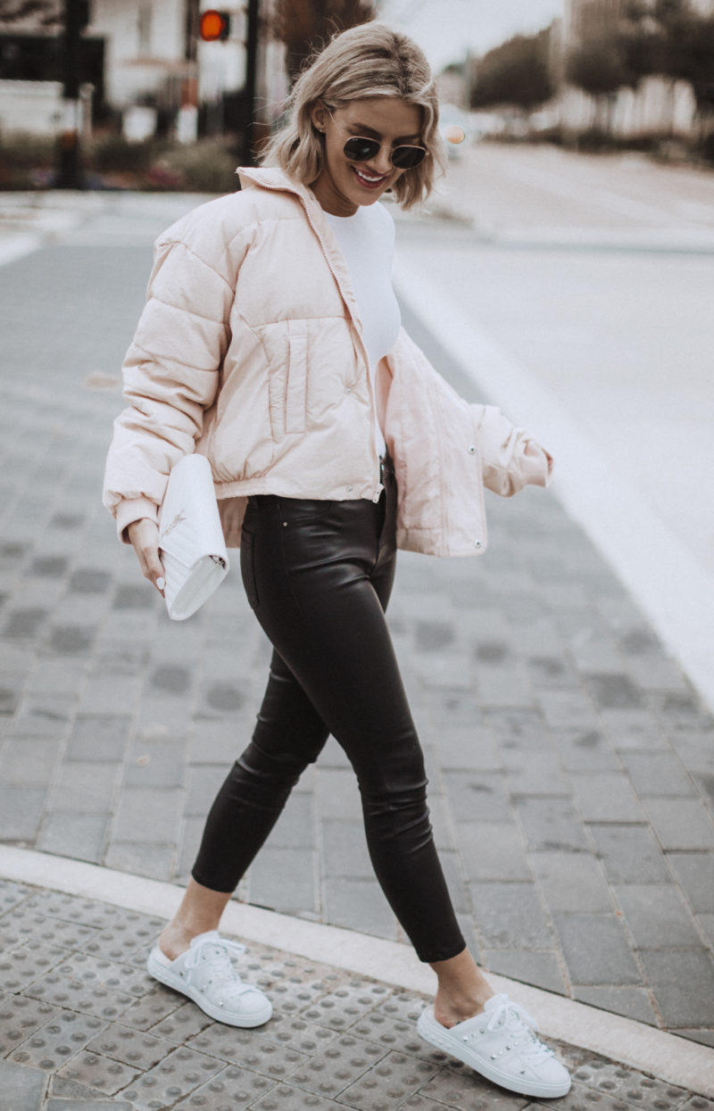 pink puffer coat from Free People on blogger So Sage