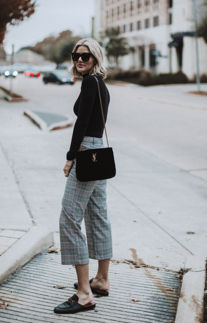 blogger So Sage wearing plaid pants and gucci loafers