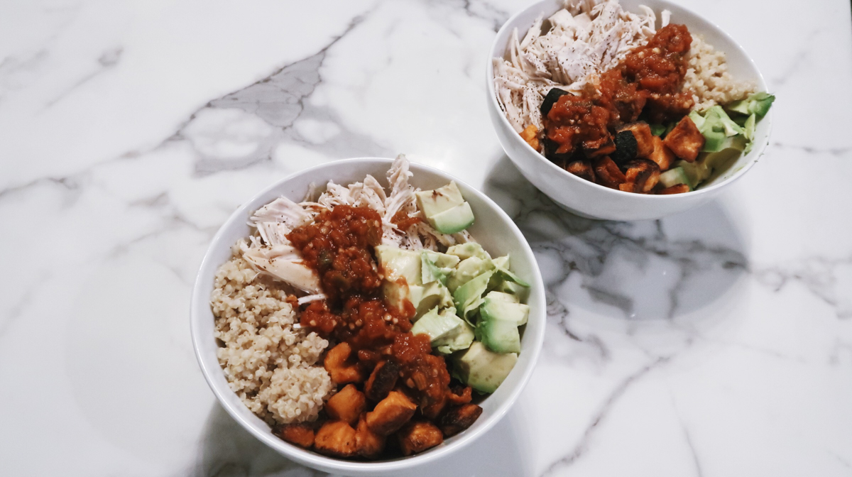 quinoa protein bowl recipe with chicken, avocado, sweet potatoes, and salsa