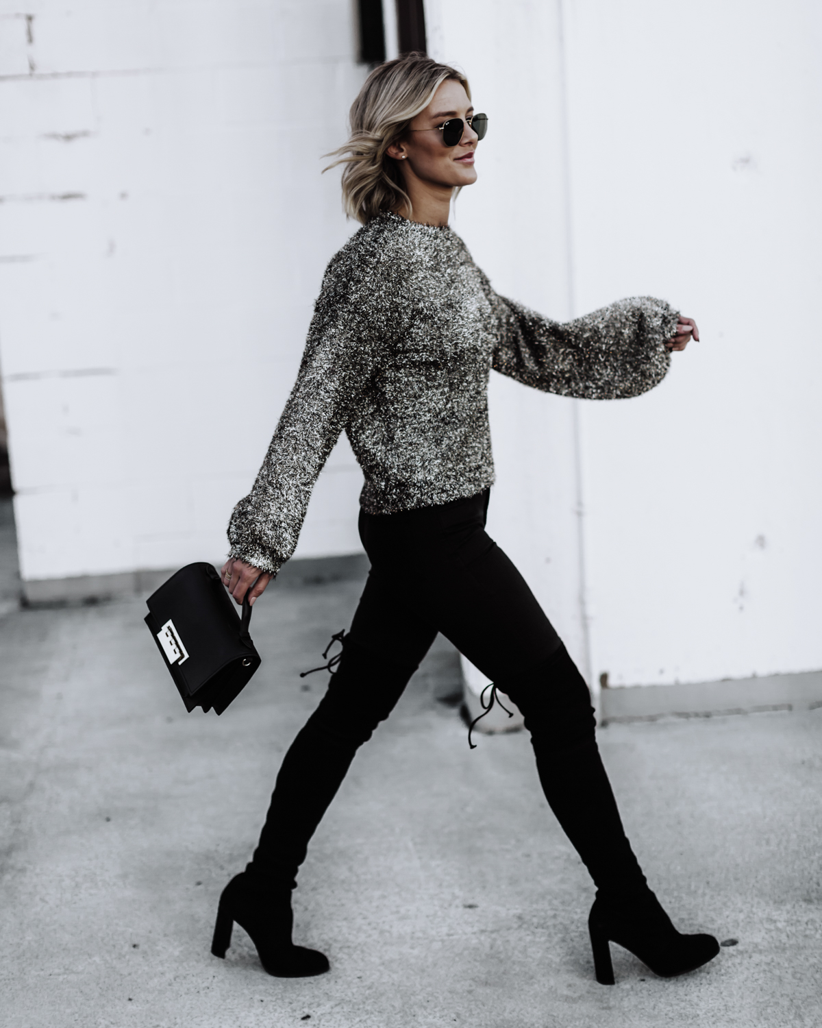 cute sparkle sweater with otk boots outfit on blogger So Sage