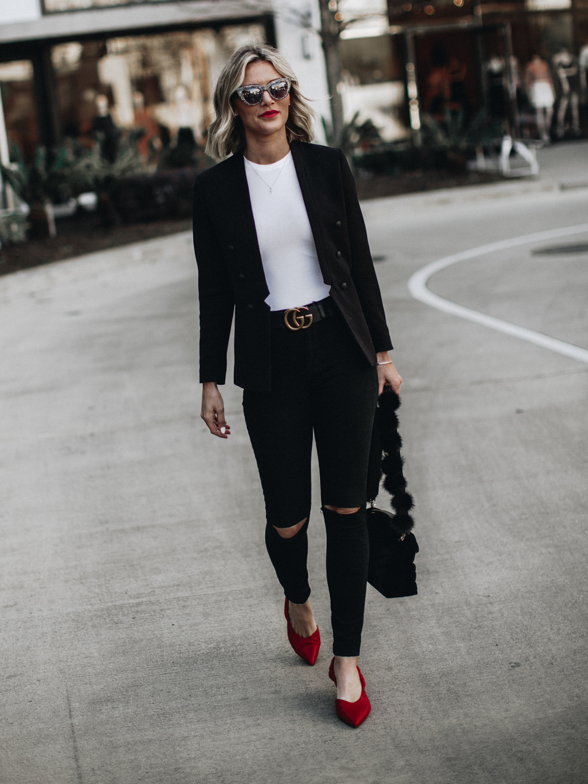 a pop of red outfit on blogger So Sage