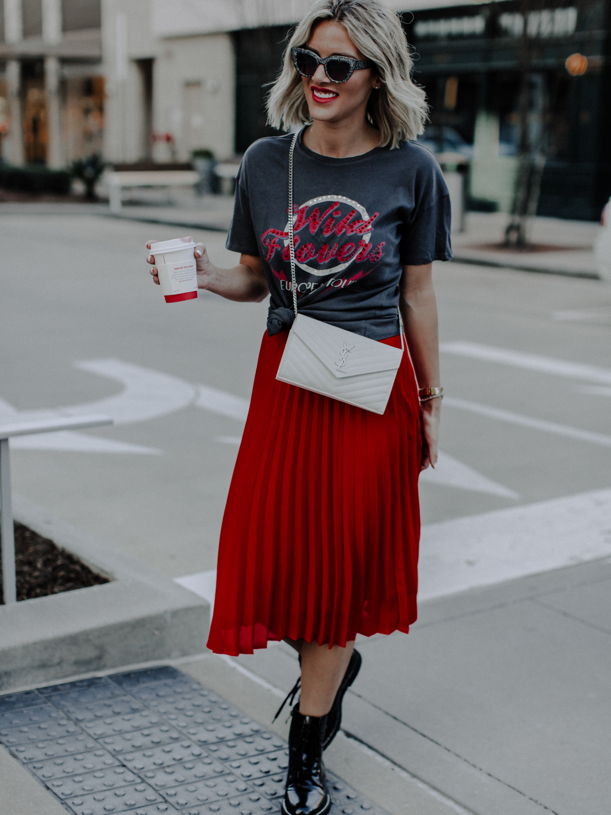 red edgy valentines day outfit on Sage Coralli of So Sage Blog