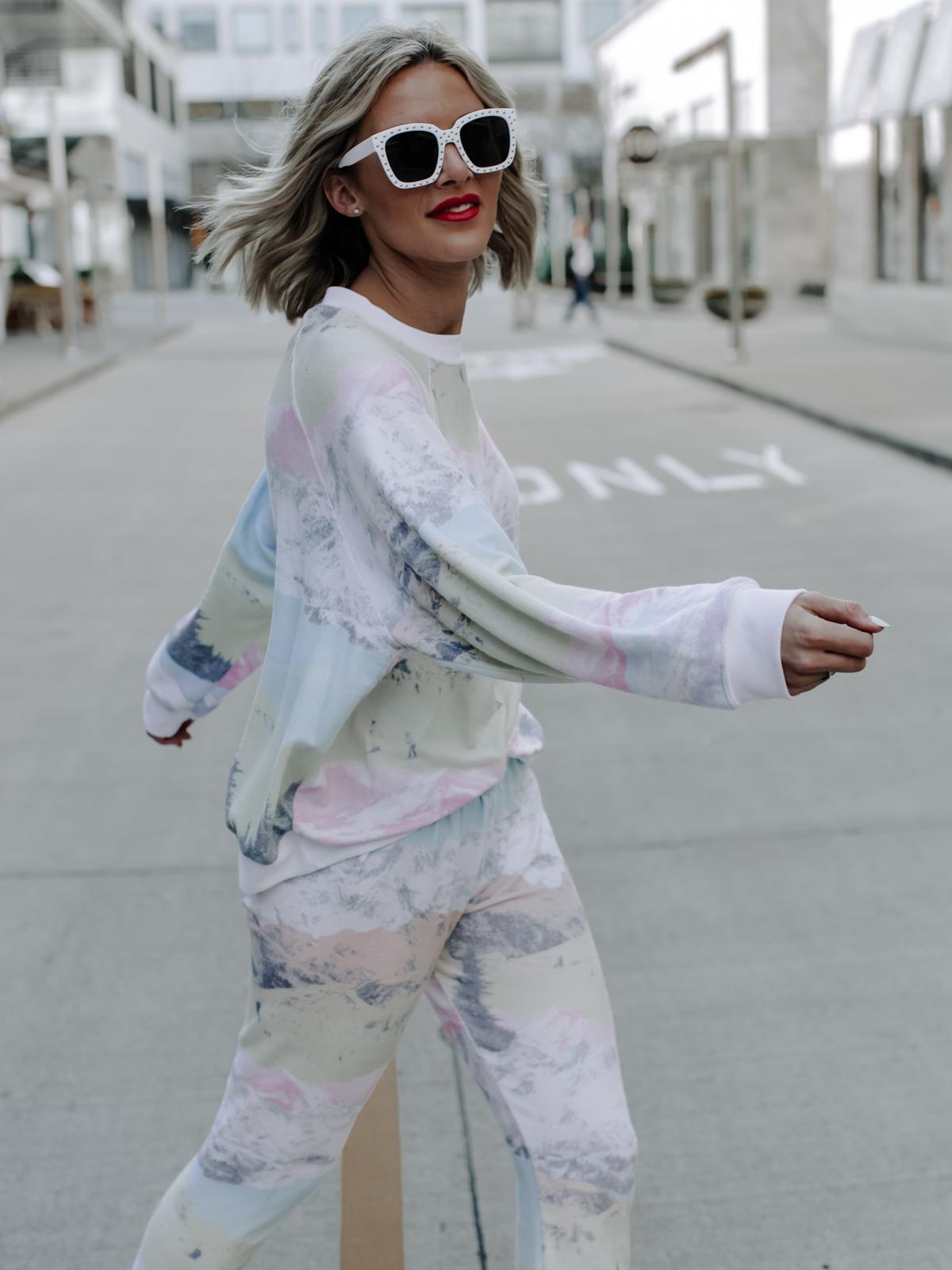 white square studded sunglasses on blogger So Sage