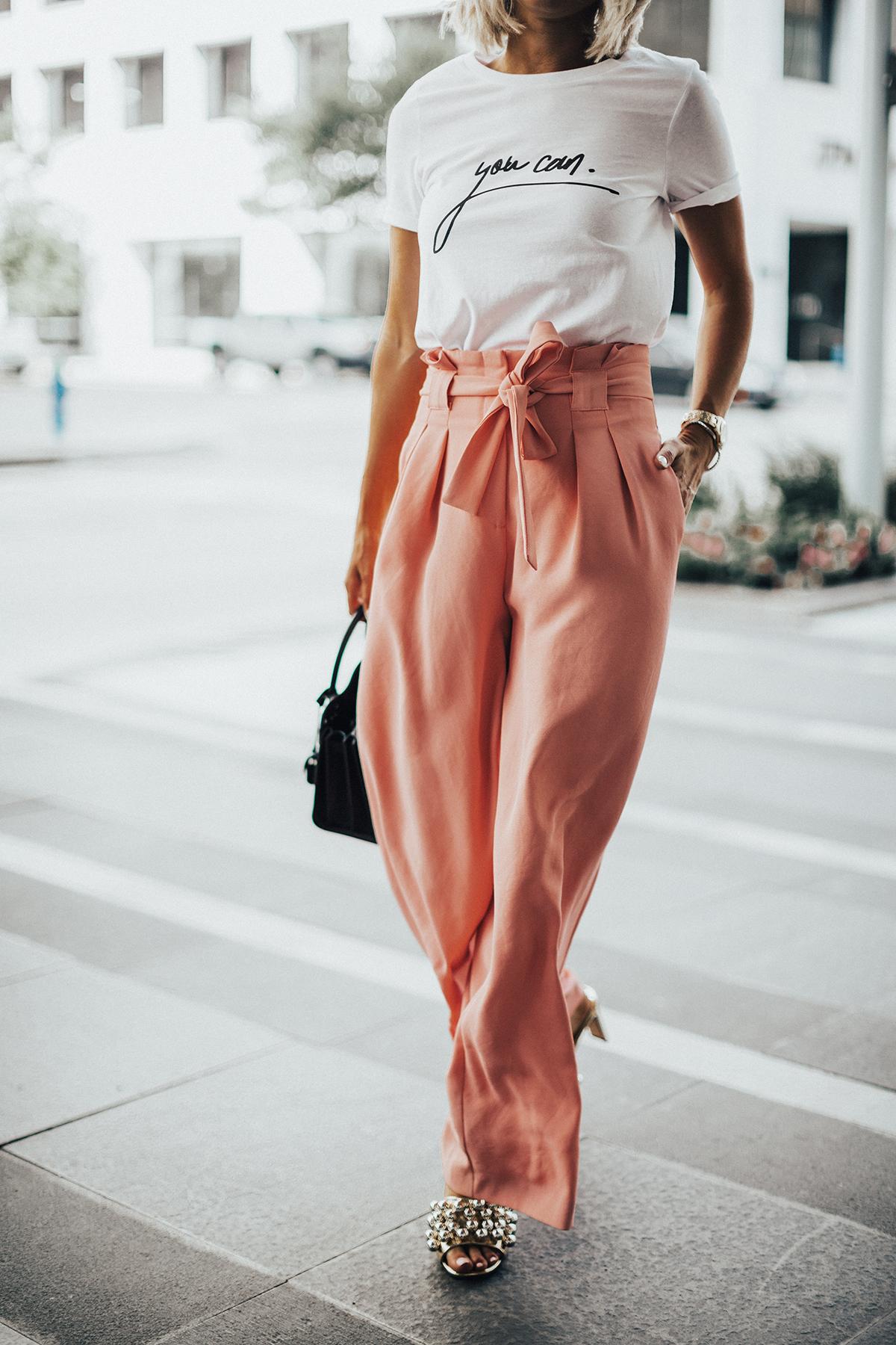 river island pink paperbag pants on blogger So Sage