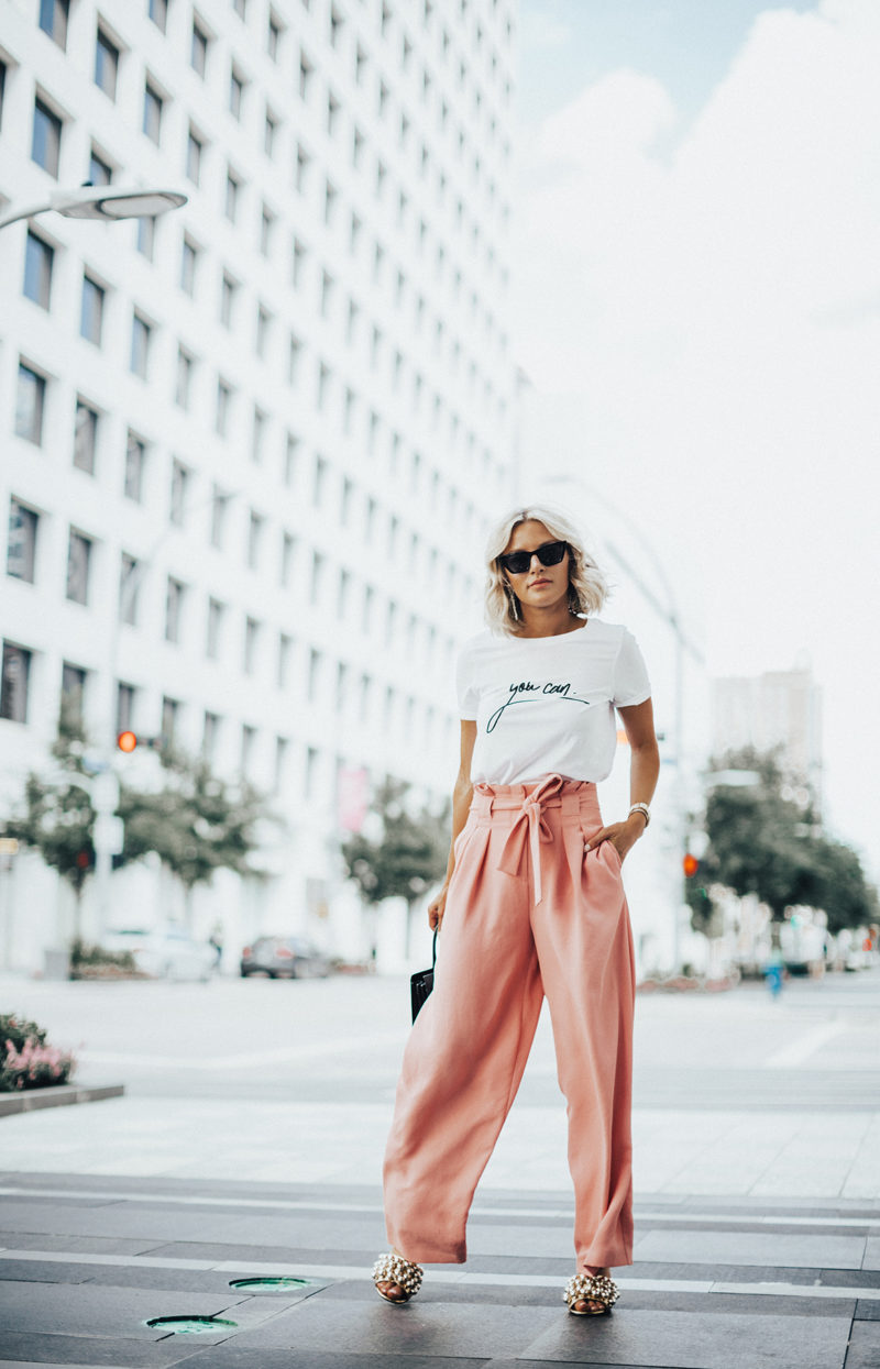pink summer pants on blogger So Sage