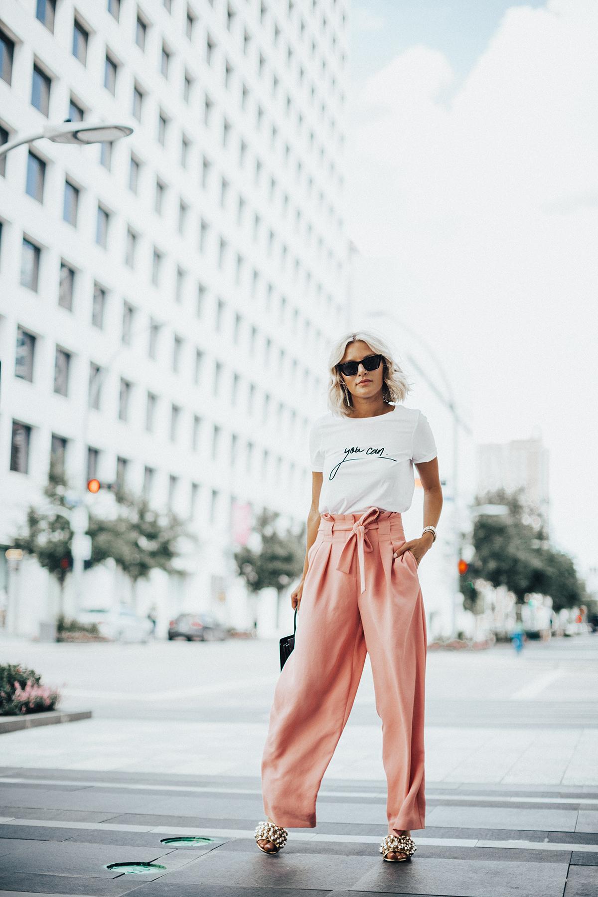 pink summer pants on blogger So Sage