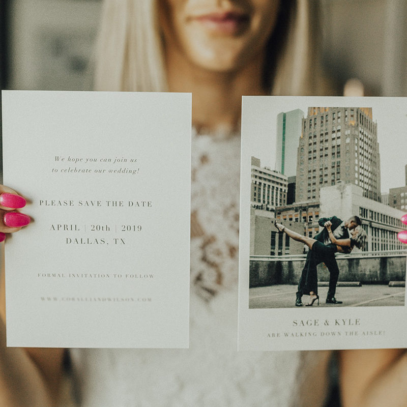 Sage Coralli of So Sage Blog used mohawk paper from Papier for her save the dates for her wedding