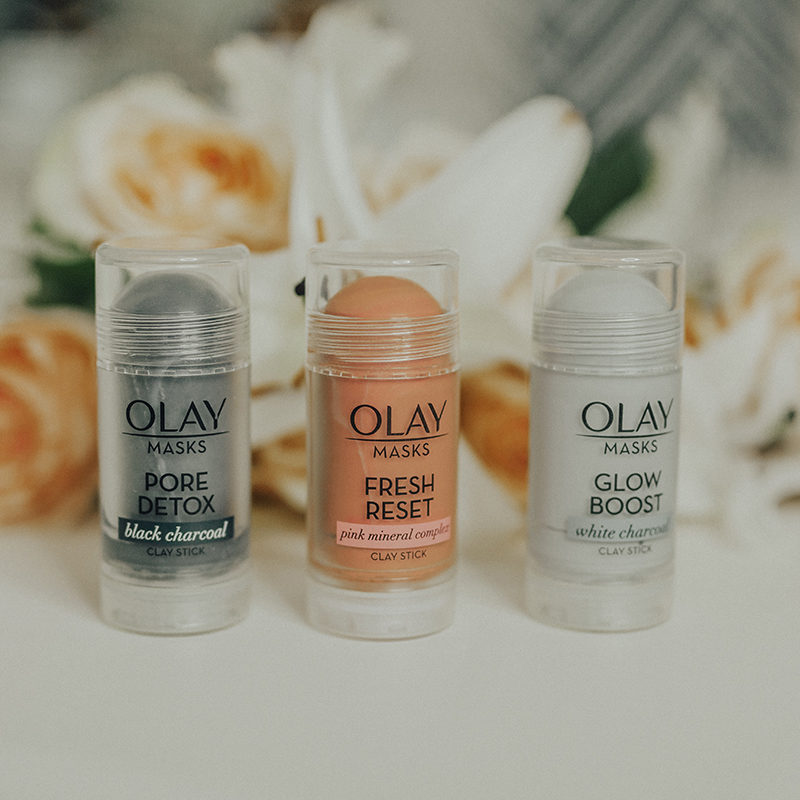 Sage Coralli trying out the new Olay Clay Stick Masks