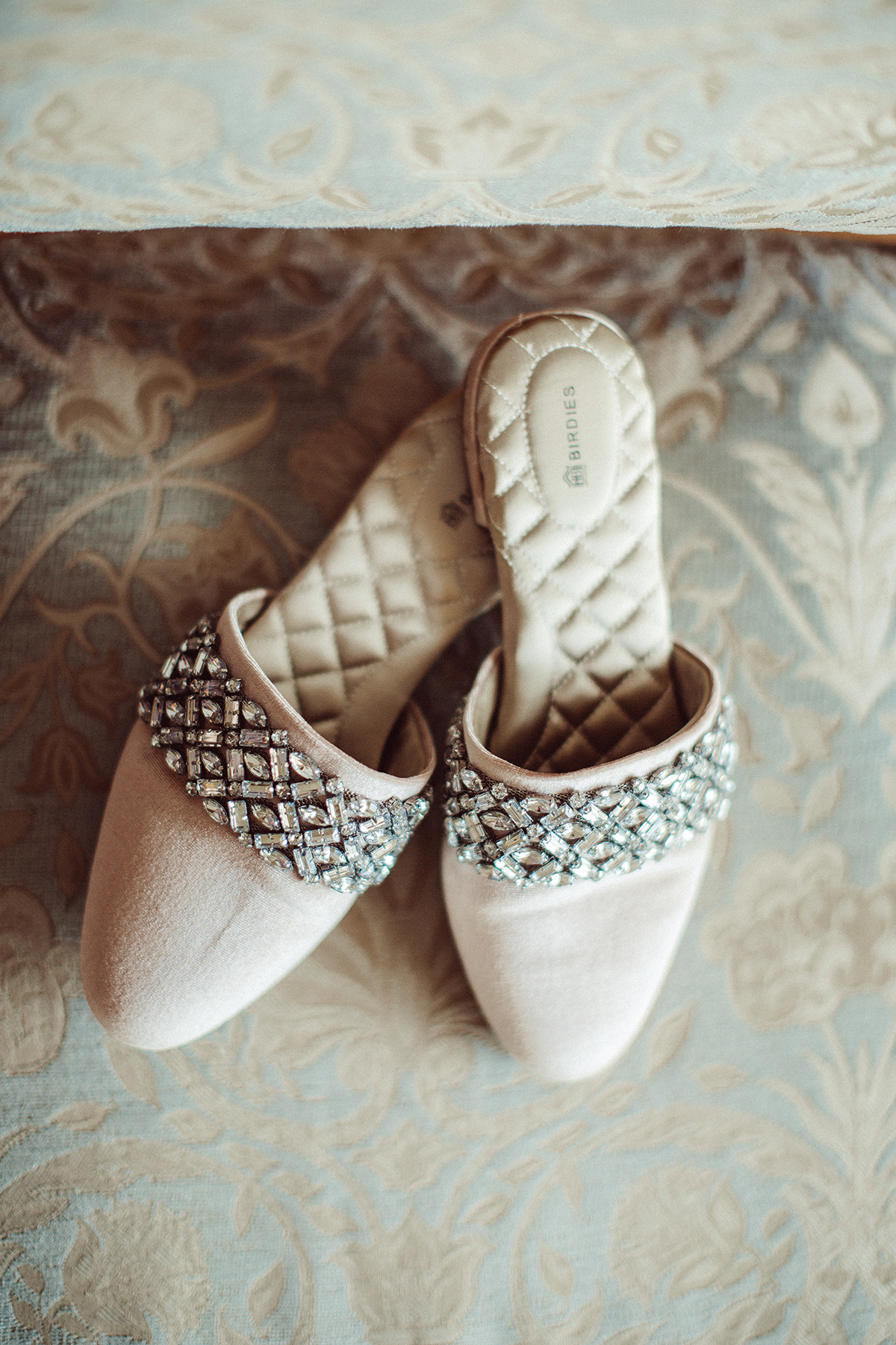 crystal bridal slippers on blogger So Sage for her wedding day