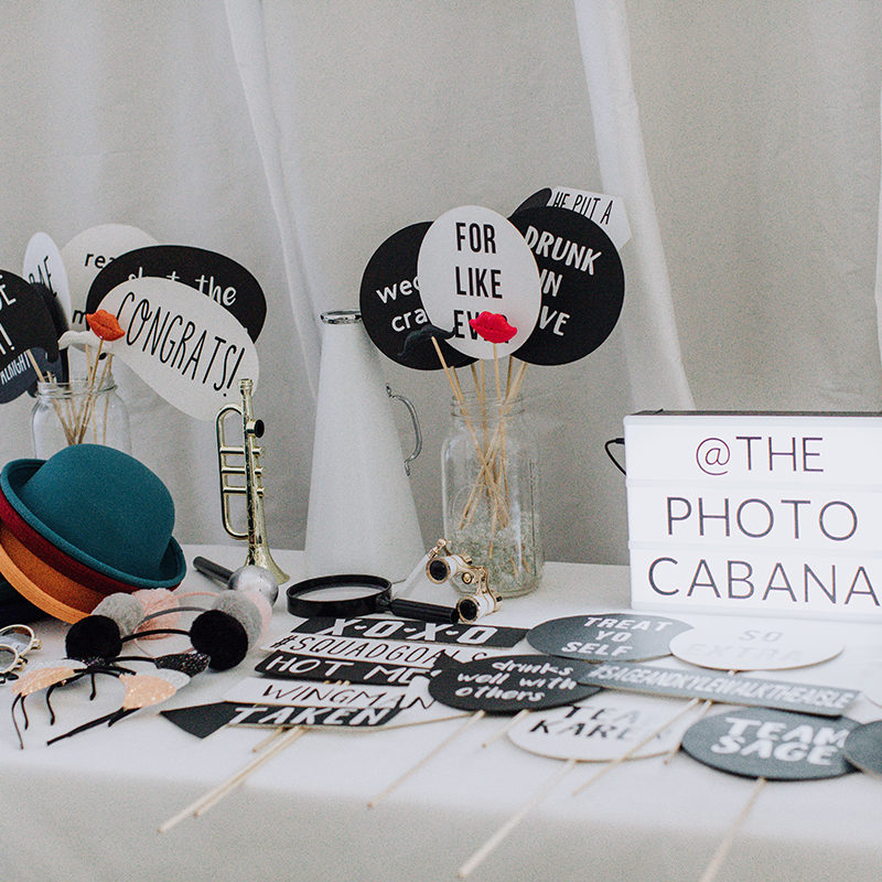 Dallas photo booth vendor the Photo Cabana with custom photo booth props for a wedding