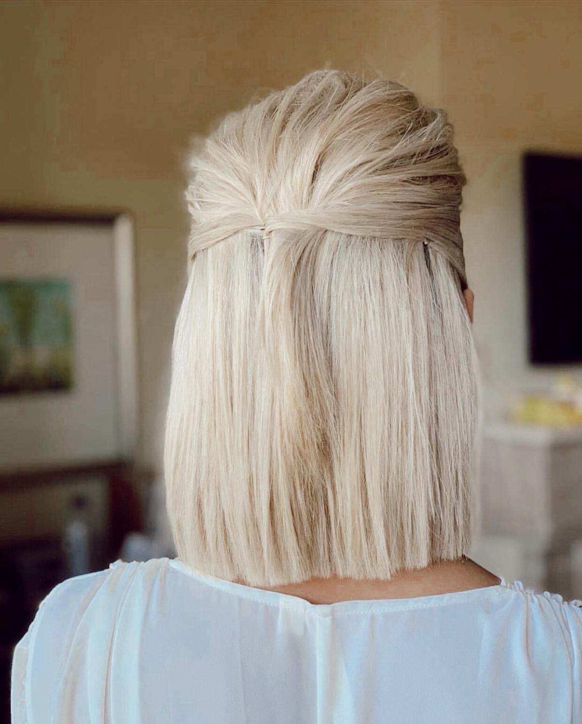 bridal hair for short hair blondes