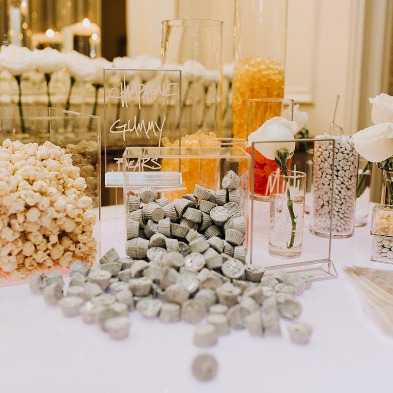a luxury wedding candy bar at Dallas wedding by the Social Llama